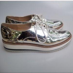 Zara Silver Laceup Platform Brogues Size 11
